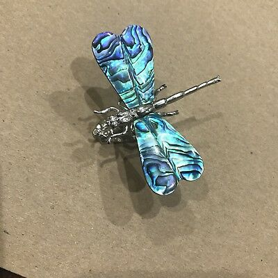 Vintage estate silver tone Dragonfly Figurine figural abalone? wings