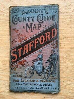 Bacons County Guide Map Of Stafford For Cyclists And Tourists  1910
