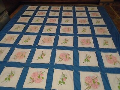 Unique Hand Made-Hand Painted Queen Quilt 80X96~Brand New~Washable Cotton Fabric