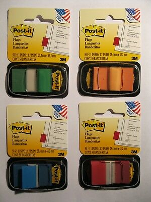 NEW 3M Post-It Note Flags Assorted Colors Green,Orange,Blue & Red. 200 Flags USA