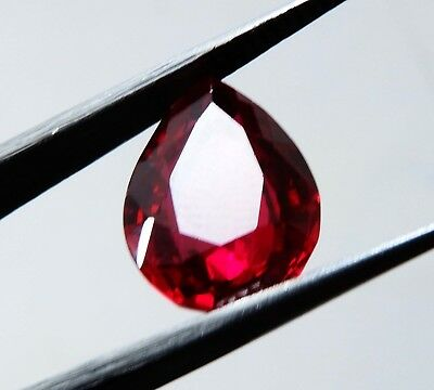 Natural 6.60 Cts pear Cut Blood Top Red Ruby Loose gemstone AH 96