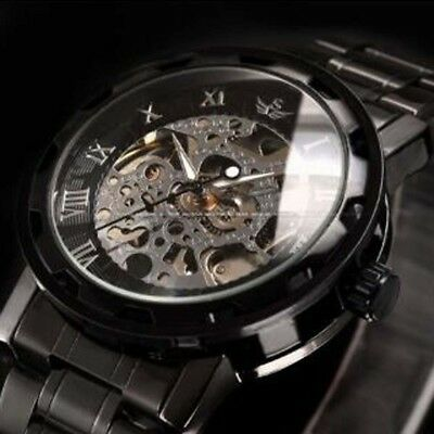 Male Men Classic Transparent Steampunk Skeleton Mechanical Stainless Steel Watch