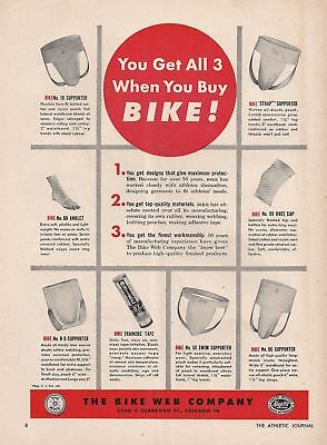 Vintage 1949 BIKE JOCK STRAPS, ATHLETIC SUPPORTERS Print Ad