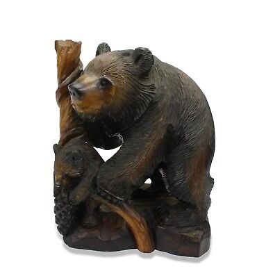 Japanese Black Bear with Cub Woodcarving, Black Forest style. 32cm high. Japan.