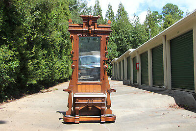 Large Fancy Walnut Victorian Marble Top Hall Tree Stand w Original Mirror & Pans