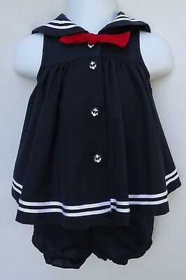 Sophie Rose Baby Girl 3 6 Months Dress Navy Sailor Nautical Anchor Blue White