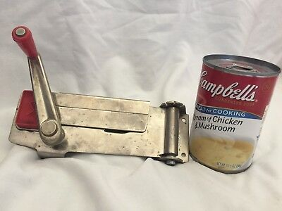 Vintage Wall Crank Model Swing Away Can Opener Stainless w Red Accents