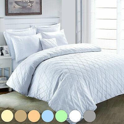 Jacob Soft Luxury Embroidered Ruched 100% Cotton Quilt Duvet Cover Bed Linen Set