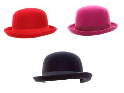 Wool Bowler Hat Ladies Womens Quality Soft Felt 3 Colours One Size