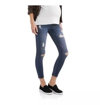 Liz Lange Maternity Over the Belly Skinny Distressed Jeans Size 6
