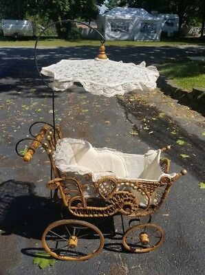 Antique Vintage Victorian Wicker & Lace Baby Doll Carriage Pram w/Parasol 44""