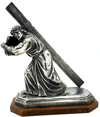 19th century Silverplated Figure of Jesus with Cross signed Grégoire