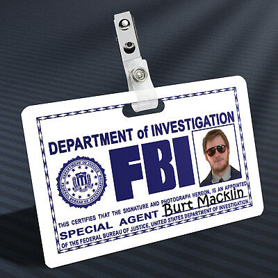 Parks and Recreation - Andy as Burt Macklin Prop ID Badge