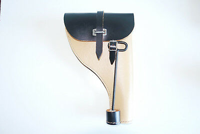 GERMAN ARMY REPRO WW2 PRESTOFF + LEATHER FLARE HOLSTER WITH PUSH ROD dated 1944