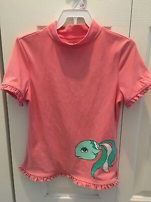 Lands End Girls Rash Guard Swim Top Pink Short Sleeves Sz Small, 7-8