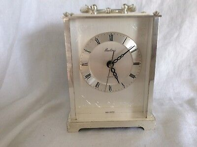 Vintage Bentima Battery Operated Carriage Clock  Silver Coloured.