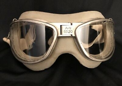 Original WWII WW2 AN-6530 American Optical Flight Goggles Excellent Condition