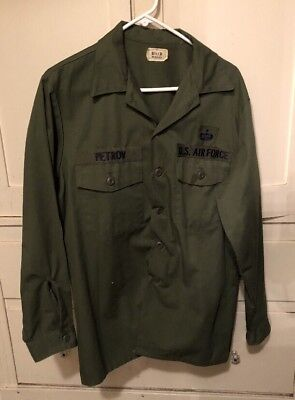 Vintage US AIR FORCE Long Sleeve Button-Up Shirt (1970's) 16-1/2 X 34