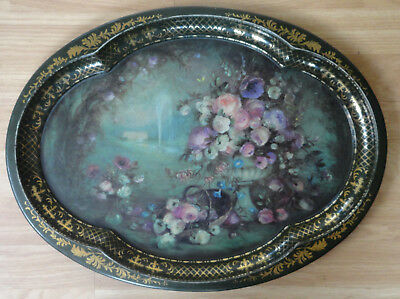 Vintage Tin Tole Toleware Tray Chatsworth Derbyshire Summer
