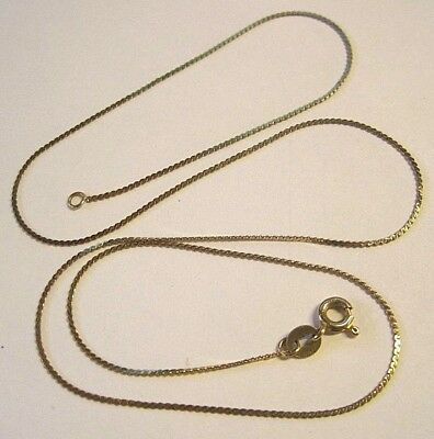 "Lovely 14K Yellow Gold ITALY Flat S Link Chain Necklace 1.5 Grams 17 3/4"" Long"