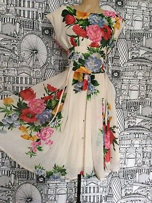 Fever London Vintage Cream Floaty Midi Floral Dress With Lace Up Sides. Size 10.