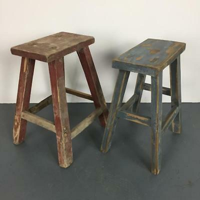 Pair Of Vintage Rustic Antique Wooden Stools Milking Large P217