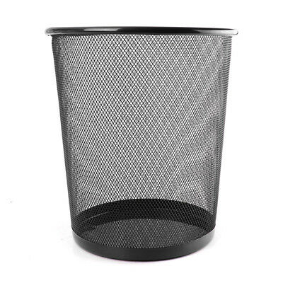 Office Can iron Mesh Waste Bin Wastebasket Rubbish Paper Net Trash Basket Bla GL