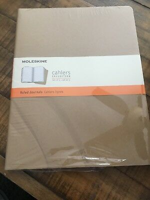 Moleskine Cahier Journal Extra Extra Large Ruled Kraft Brown, Read Details