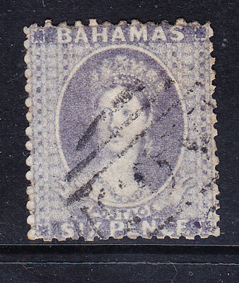 BAHAMAS QV 1862 SG19a 6d lilac - perf 13 - no wmk - fine used. Catalogue £450