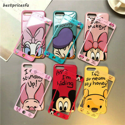 For iPhone X 8 7 6S Plus Cartoon Disney Minnie Micky Case Cover +Tempered Glass