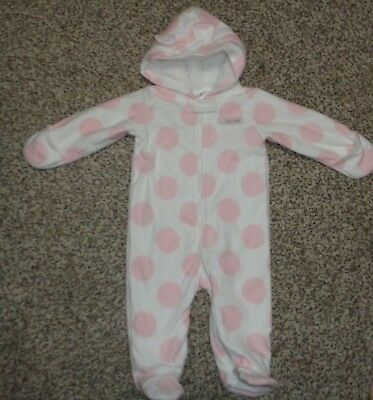 df489b8f8 CARTERS BABY GIRLS Snowsuit White Pink Polka Dots Footed Size 9 ...