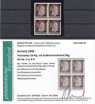WW2 / WK2 , 1945  Kurland , MiNr. 2 vz **/ MNH , Germany Occupation + Attest