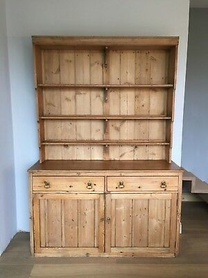 A Beautiful Large Antique Country House Solid Pine Kitchen  Dresser.
