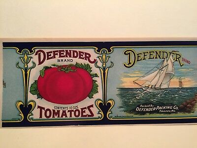Lot of 10 DEFENDER Vintage Maryland Tomato Sailboat Ship 1920's TIN CAN LABEL