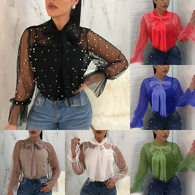 Women Beaded Mesh Sheer Top Ladies See-through Long Sleeve Casual T Shirt Blouse