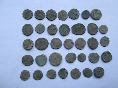 Beautiful lot of 35 very interesting Roman uncleaned coins l/130