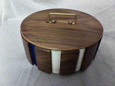 Portable Poker Night card/chip caddy carousel with cards and chips wood grain