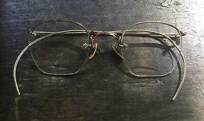 Pair of Antique Vintage Gold Plated Wire Rim Glasses Eyeglasses
