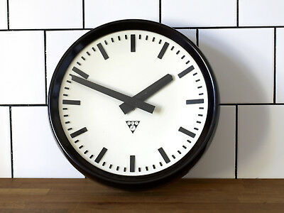 running old Pragotron wall clock - Factory School Railway vintage - 12 1/2 inch.