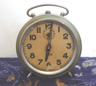 1930's Vintage French JAZ Metal Fully Working Alarm Clock Nickel Plate Art Deco