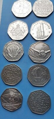 Job Lot of Mixed Rare  50p Coins Fifty Pence 10 Coins
