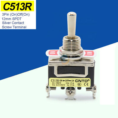 12mm 3Pin (On)Off(On) Toggle Switch SPDT 15A250V Momentary Silver Contact C513R