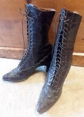 *LOOK* Women's Vintage 1900's Marshall Field Antique Victorian Leather Boots