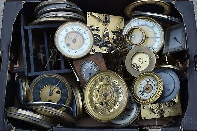 Clearance Lot Of Vintage Clock Faces And Mechahanisms Suitable Spares