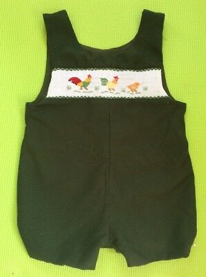 Vintage Boys 2T Romper With Rooster Hen & Chick Chickens Cross Stitch Detail