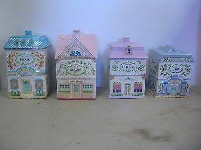 4  Lenox Village Canisters Marked  FLOUR , SUGAR, COFFEE, & TEA     1990