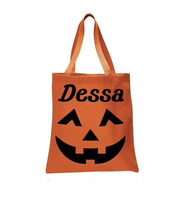 Halloween Trick Or Treat Bags Personalized.Personalized Jack O Lantern Pumpkin Halloween Trick Or Treat Bag