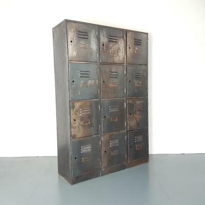 Vintage Industrial Stripped Metal 12 Compartment Cabinet Chest Locker #2467