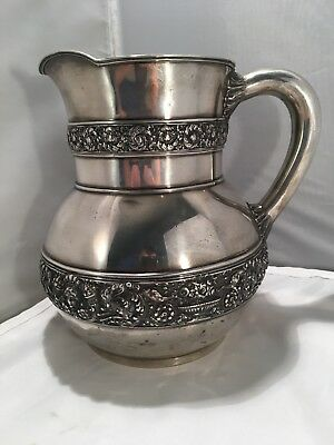 Tiffany & Co. Solid Sterling Silver Ornate Pitcher 5 & 1/4 Pints 33.63 Troy Oz