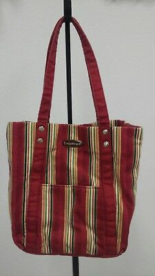 Longaberger Homestead Holiday Stripes Purse Tote Bag Gently Used